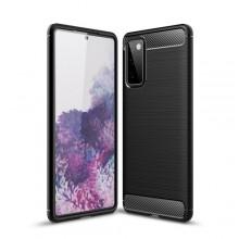 Samsung Galaxy S20 FE Brushed Texture Carbon Fiber TPU Case Zwart