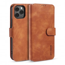 Apple iPhone 12 /12 Pro Wallet Cover Retro Oil Zwart