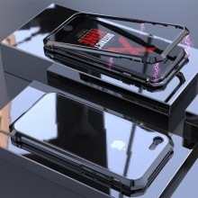 Apple iPhone 7 / 8 Magnetische Flip Case Met Gehard Glas