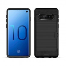 Samsung Galaxy S10 Plus TPU + PC Cover Brushed Carbon Fiber