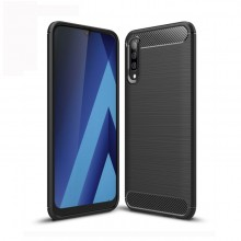 Samsung Galaxy A70 TPU Case Brushed Carbon Fiber Shockproof
