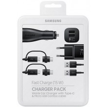 Samsung Fast Charger Pack / Thuis Lader + Autolader - Zwart (EP-U3100WBEGWW)